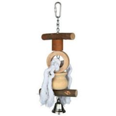 TRIXIE Zabawka drewniana ze sznurkiem i dzwonkiem dla ptaków