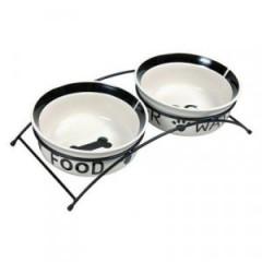 TRIXIE Miski ceramiczne na stojaku - biało/czarne