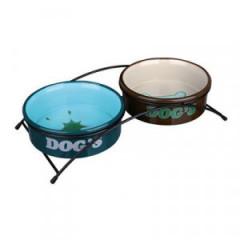 TRIXIE Miski ceramiczne na stojaku - brązowo/niebieskie