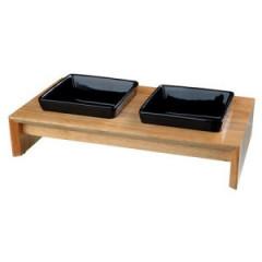 TRIXIE Zestaw misek - ceramiczno / drewniany