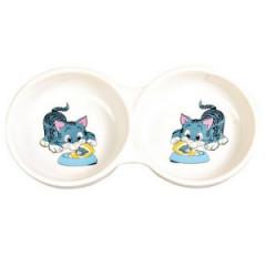 TRIXIE Podwójna miska ceramiczna z motywem 2 x 150ml