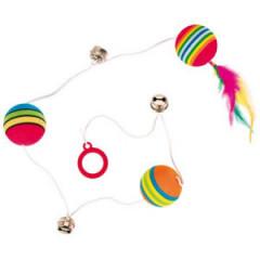 TRIXIE Piłki tęczowe na gumce z piórkiem 3,5cm / 80cm