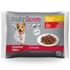 NUTRILOVE Premium mięsne kawałki w sosie dla psa 340g (2x kurczak 85g, 2x z wołowina 85g)