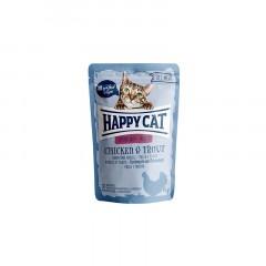 HAPPY CAT All Meat Adult Sterilised kurczak i pstrąg - saszetka 85g