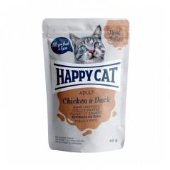 HAPPY CAT Adult Kurczak i kaczka w sosie - saszetka 85g