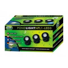 AQUA NOVA Wodoodporna lampa LED 3x 1,6W, 12V szkiełka kolorow