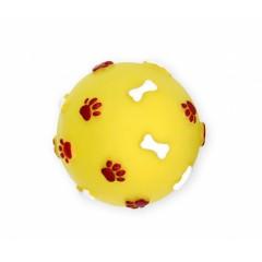 PET NOVA Piłka ze wzorem łapek i kości 7,5cm - żółta