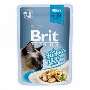 BRIT Chicken Fillets Adult - Filety z kurczaka w sosie dla kota 85g