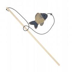 BARRY KING Drewniana wędka z rybką z mocnego materiału 40cm