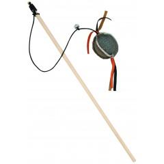 BARRY KING drewniana wędka z piłką z mocnego materiału - szara 5 x 5 x 4cm / 40cm