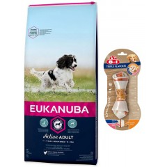 EUKANUBA Adult Medium Breed 15kg + Kość 8in1 GRATIS