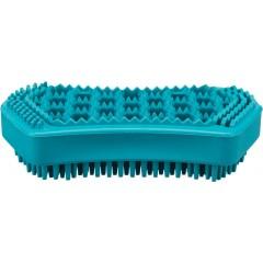 TRIXIE Szczotka do masażu - naturalna guma 6cm × 12cm - turkus (pies)
