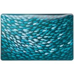 TRIXIE Podkładka pod miski Fish, 44 × 28 cm, petrol/niebieski
