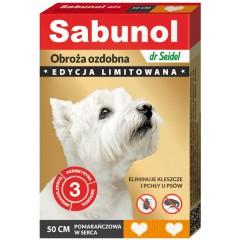 SABUNOL Obroża ozdobna 50cm - pomarańczowa w serca