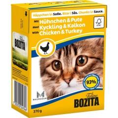 BOZITA Kurczak i indyk - kawałeczki mięsa dla kotów 370g (sos)