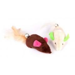 DINGO Zabawka dla kota myszki 2szt. pluszowe - brązowa / ecru