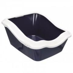 TRIXIE Kuweta Cleany Cat z ramką (45 × 21 (29) × 54 cm) - ciemnoniebieska/biała