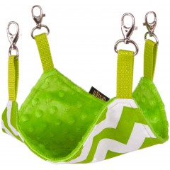 LAUREN DESIGN Hamak dla gryzoni - zieleń zygzak + zieleń minky