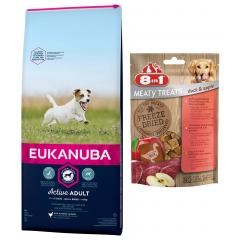 EUKANUBA Adult Small Breed 15kg + GRATIS: Przysmak Freeze Dried Duck Apple 50g