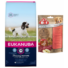 EUKANUBA Mature Medium Breed 15kg + GRATIS: Freeze Dried Duck / Apple 50g