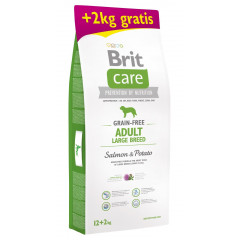 BRIT CARE Grain-Free Adult Large Breed Salmon & Potato 12kg + 2kg GRATIS