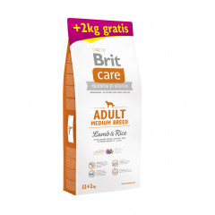 BRIT CARE Adult Medium Breed Lamb & Rice 12kg + 2kg GRATIS