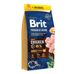 BRIT Premium by Nature Adult M (Medium) 15kg + 3kg GRATIS