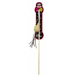 PET NOVA Zabawka dla kota drewniana wędka z brązową myszką (dł. wędki - 40cm)