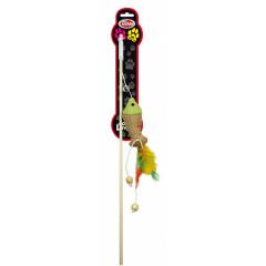 PET NOVA Zabawka dla kota wędka z rybką i piórami (dł. wędki - 40cm)