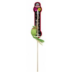 PET NOVA Zabawka dla kota wędka z zieloną myszką (dł. wędki - 40cm)