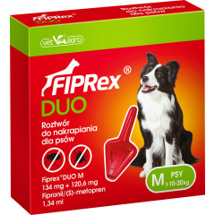 FIPREX DUO Krople M (10 - 20 kg) (1 pipeta x 1,34 ml)