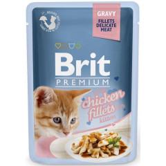 BRIT PREMIUM CAT Chicken Gravy Fillets Kitten - kurczak w sosie dla kociąt 85g (saszetka)