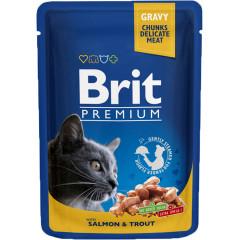 BRIT PREMIUM CAT Adult Łosoś i Pstrąg (saszetka)