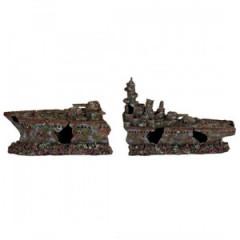 TRIXIE Dekoracja akwarium - Wrak krążownika dwuczęściowy 70cm