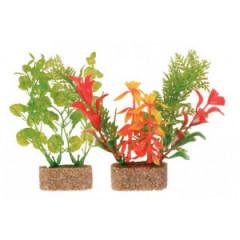 TRIXIE Dekoracja akwarium - Sztuczne rośliny na kamieniu - małe 6szt.