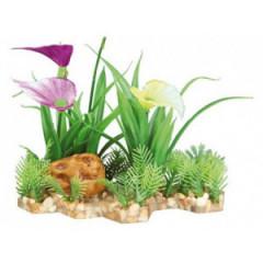 TRIXIE Dekoracja akwarium - Sztuczna roślina w żwirku 13cm