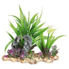 TRIXIE Dekoracja akwarium - Sztuczna roślina w żwirku 18cm