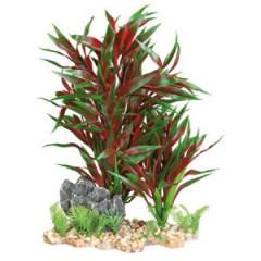 TRIXIE Dekoracja akwarium - Sztuczna roślina w żwirku 28cm