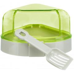 TRIXIE Toaleta narożna z daszkiem dla myszy i chomika (łopatka w zestawie)