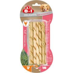 8in1 Delights Pork Twisted Sticks - Skręcane pałeczki wieprzowe z kurczakiem 10 szt.