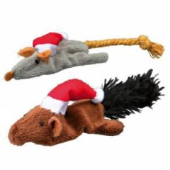 TRIXIE Zestaw zabawek świątecznych dla kota mysz i wiewiórka 14-17cm
