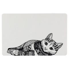 TRIXIE Podkładka pod miski dla kota Zentangle 44 x 28cm - biało/czarna