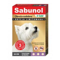 SABUNOL Obroża ozdobna 50cm - fioletowa w kropki