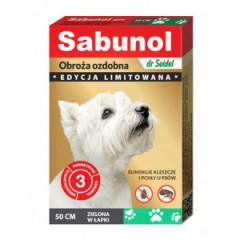 SABUNOL Obroża ozdobna 50cm - zielona w łapki